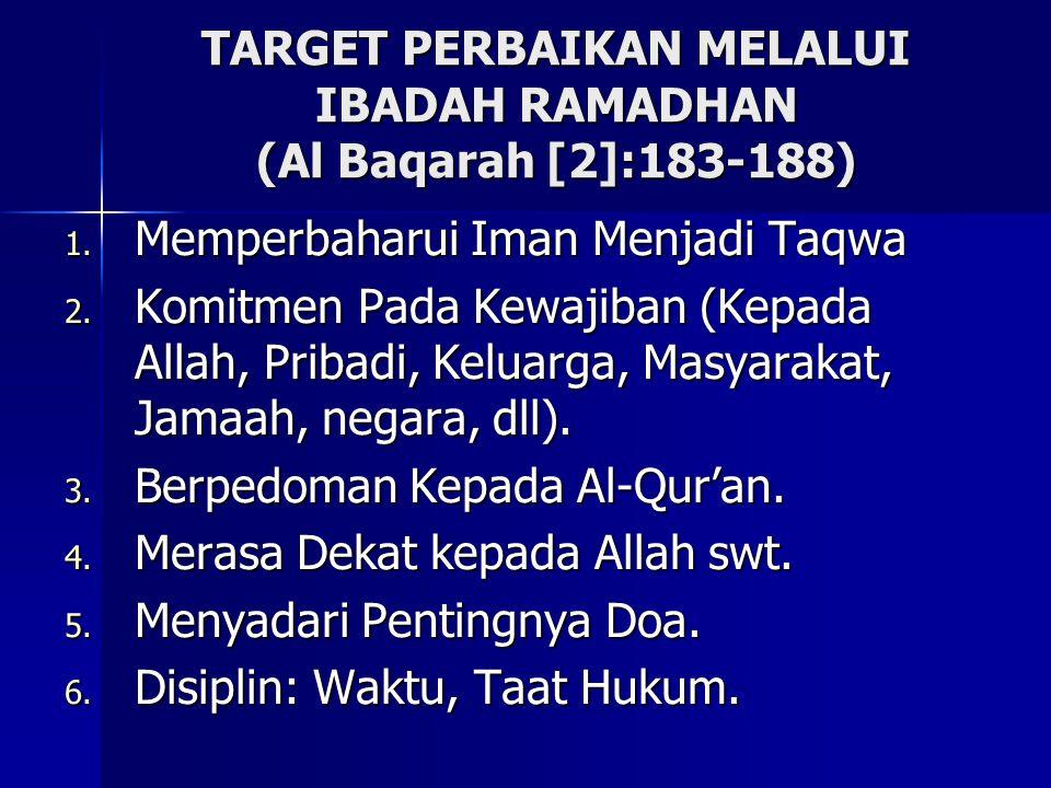 TARGET PERBAIKAN MELALUI IBADAH RAMADHAN (Al Baqarah [2]:183-188)